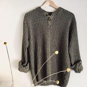 Vintage Sweaters - 🌱Sage Boyfriend Henley🌱